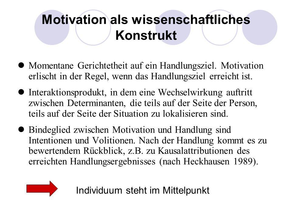 Motivation als wissenschaftliches Konstrukt