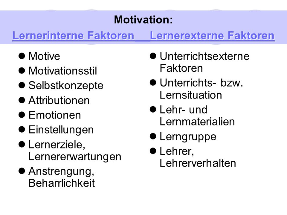 Motivation: Lernerinterne Faktoren Lernerexterne Faktoren