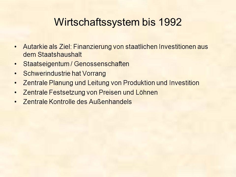 Wirtschaftssystem bis 1992