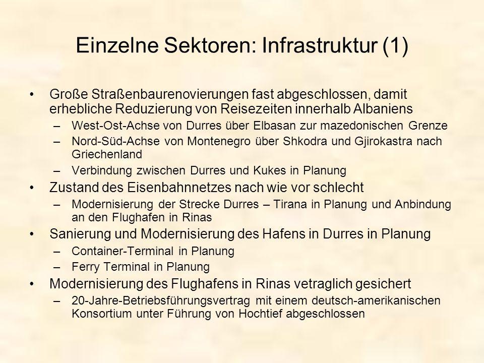 Einzelne Sektoren: Infrastruktur (1)