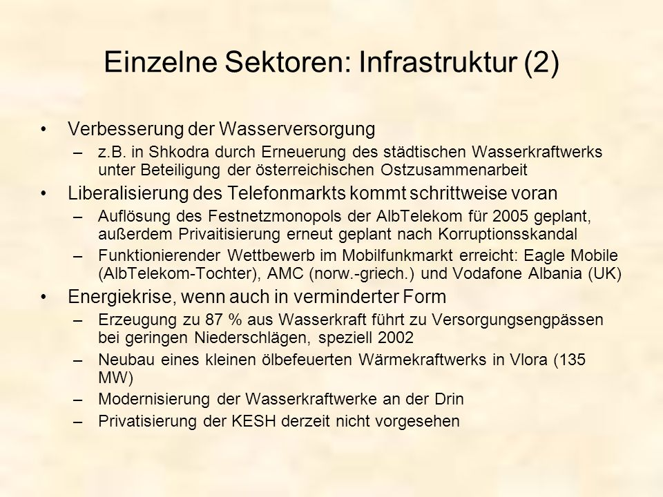 Einzelne Sektoren: Infrastruktur (2)