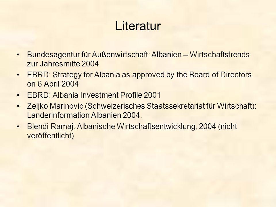 Literatur Bundesagentur für Außenwirtschaft: Albanien – Wirtschaftstrends zur Jahresmitte 2004.