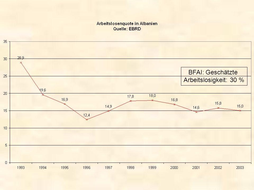 BFAI: Geschätzte Arbeitslosigkeit: 30 %