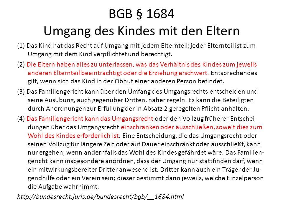 BGB § 1684 Umgang des Kindes mit den Eltern