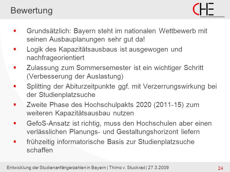 Bewertung Grundsätzlich: Bayern steht im nationalen Wettbewerb mit seinen Ausbauplanungen sehr gut da!