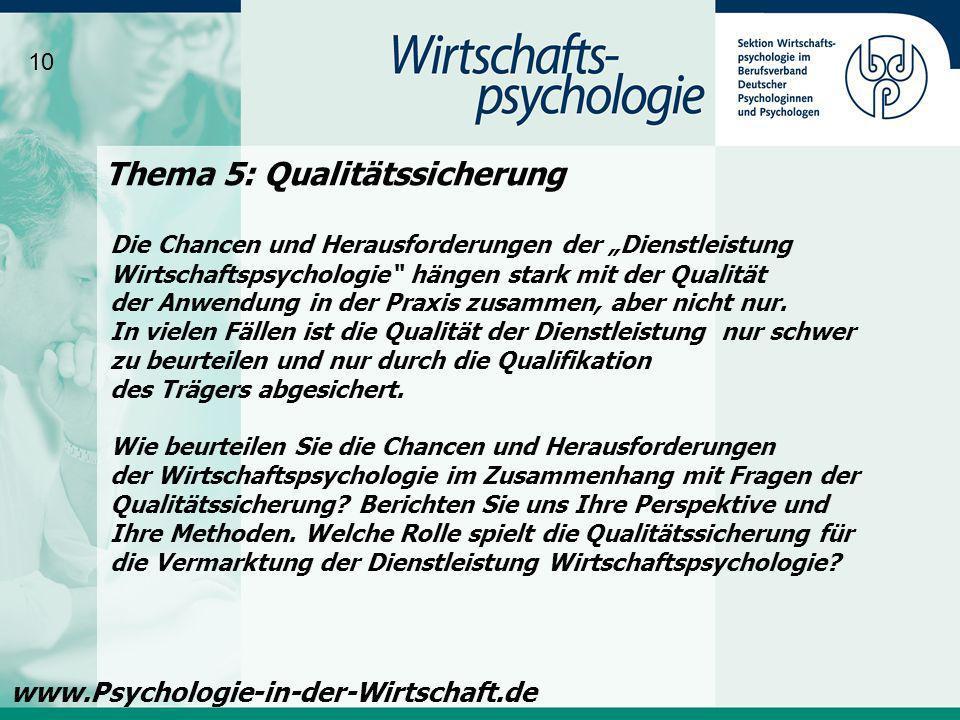 Thema 5: Qualitätssicherung