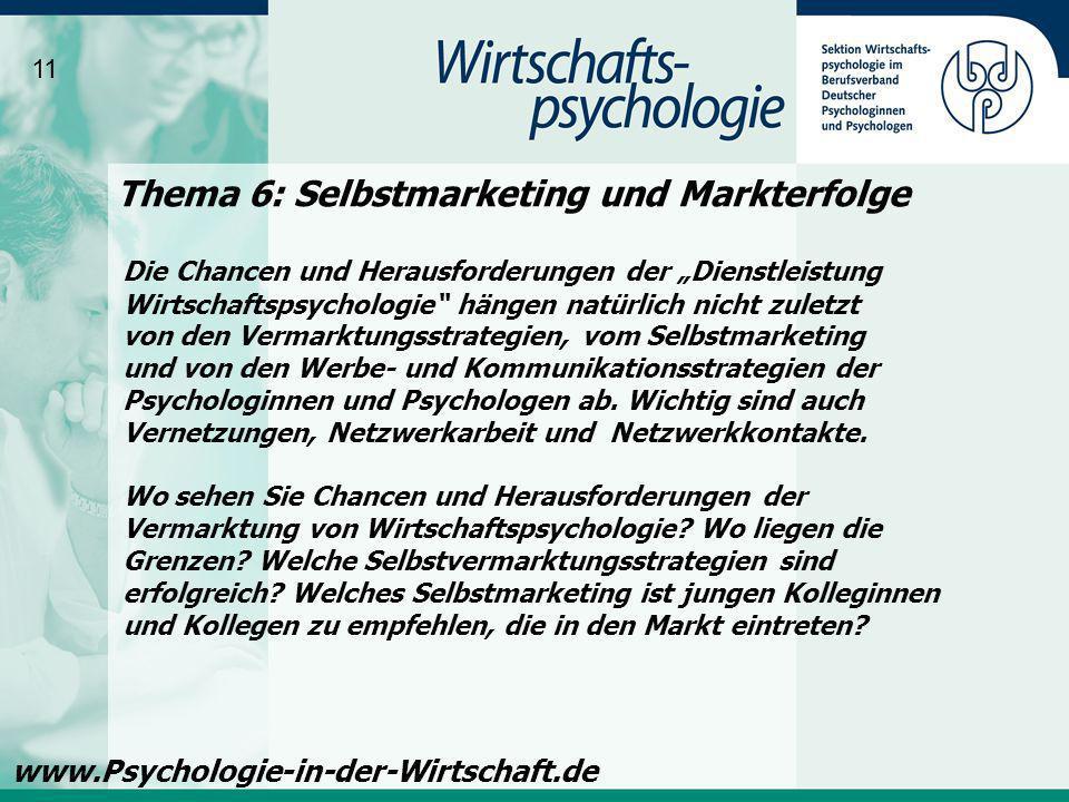 Thema 6: Selbstmarketing und Markterfolge