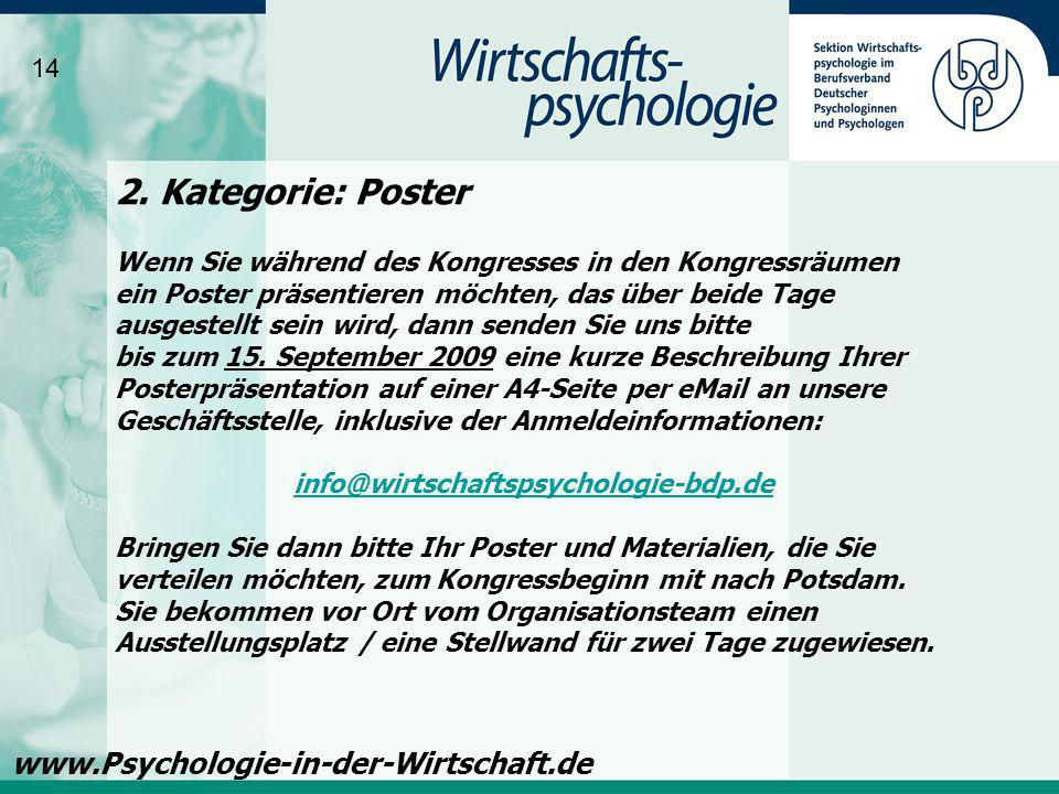 2. Kategorie: Poster www.Psychologie-in-der-Wirtschaft.de 14