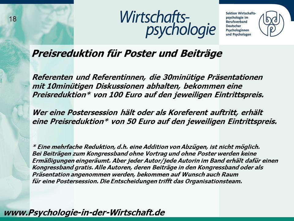 Preisreduktion für Poster und Beiträge