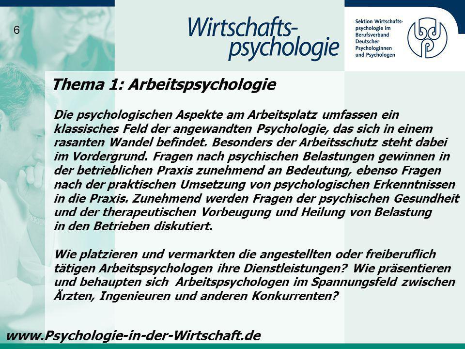 Thema 1: Arbeitspsychologie