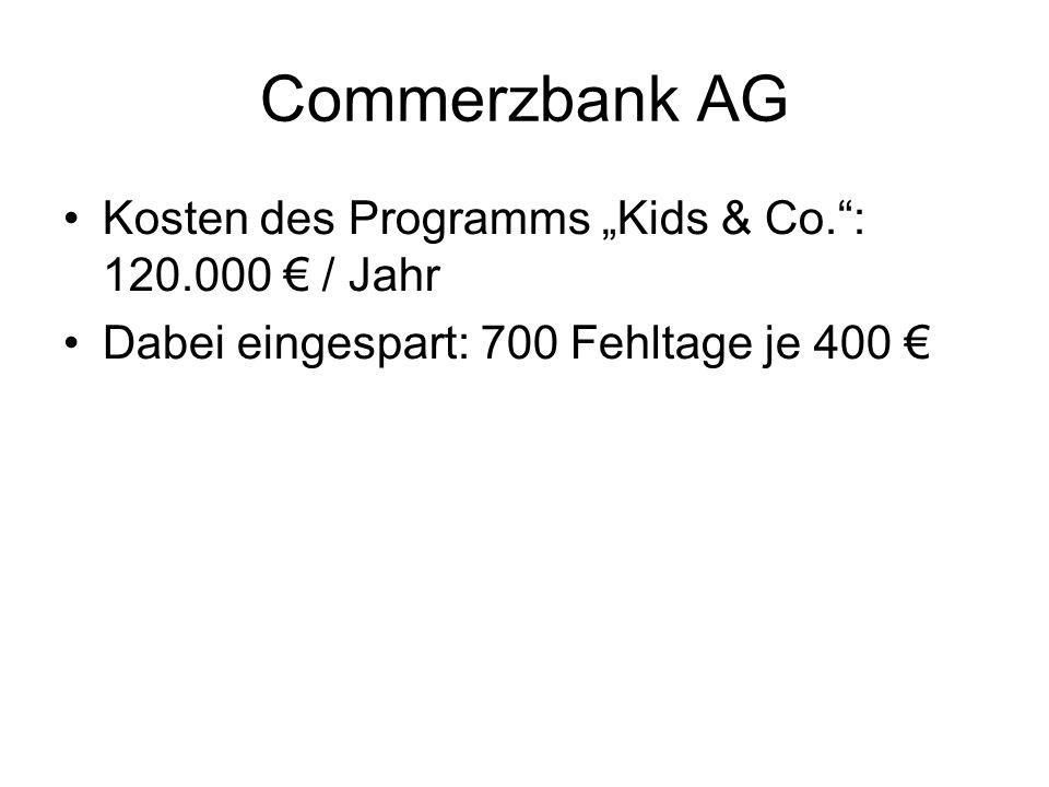 """Commerzbank AG Kosten des Programms """"Kids & Co. : 120.000 € / Jahr"""