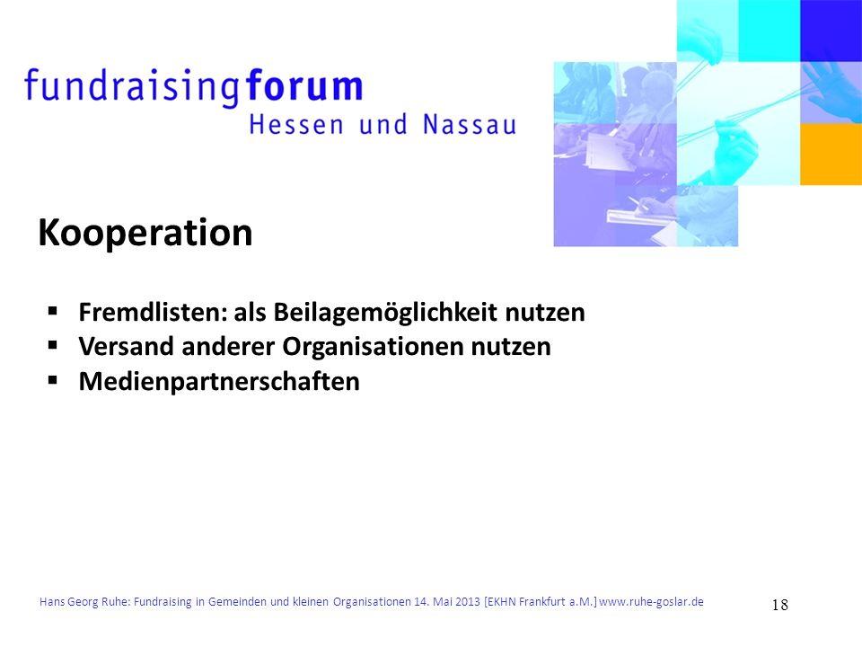 Kooperation Fremdlisten: als Beilagemöglichkeit nutzen