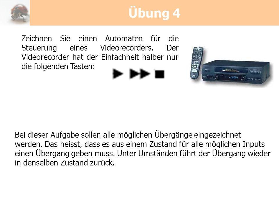 Übung 4Zeichnen Sie einen Automaten für die Steuerung eines Videorecorders. Der Videorecorder hat der Einfachheit halber nur die folgenden Tasten: