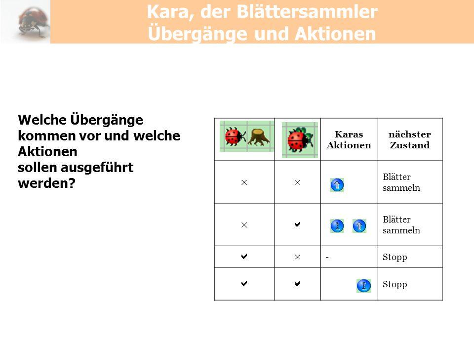 Kara, der Blättersammler Übergänge und Aktionen