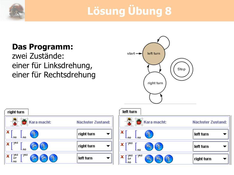 Lösung Übung 8 Das Programm: zwei Zustände: einer für Linksdrehung,