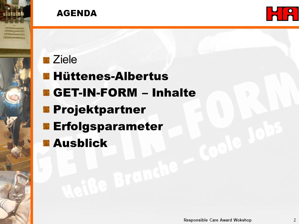 Ziele Hüttenes-Albertus GET-IN-FORM – Inhalte Projektpartner