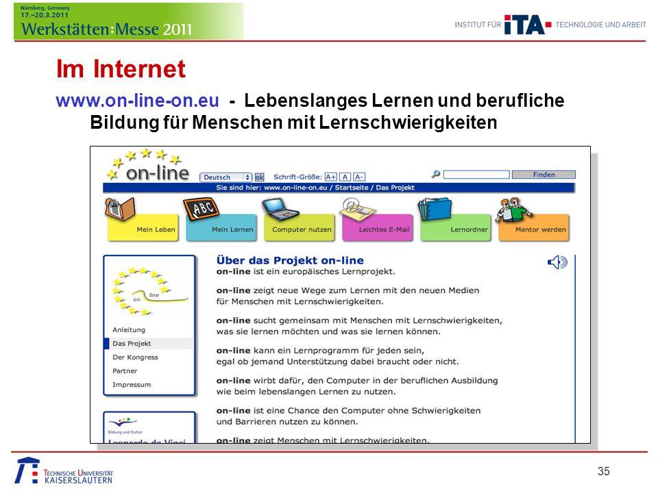 Im Internet www.on-line-on.eu - Lebenslanges Lernen und berufliche Bildung für Menschen mit Lernschwierigkeiten.