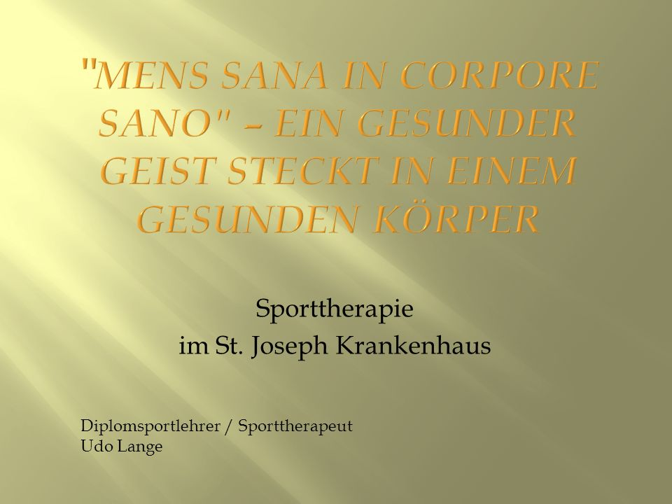 Sporttherapie im St. Joseph Krankenhaus