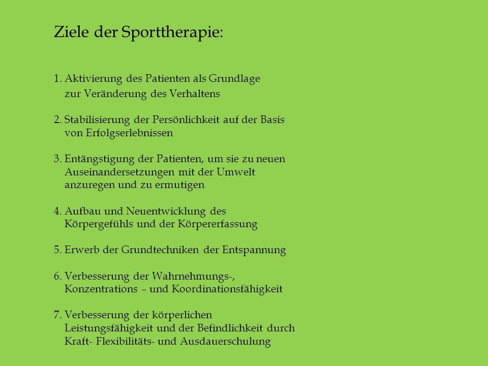 Ziele der Sporttherapie:. 1. Aktivierung des Patienten als Grundlage