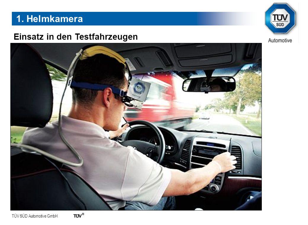 1. Helmkamera Einsatz in den Testfahrzeugen