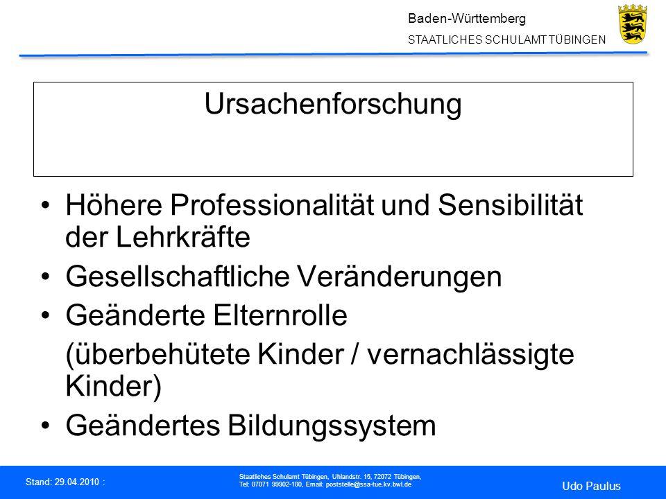 Ursachenforschung Höhere Professionalität und Sensibilität der Lehrkräfte. Gesellschaftliche Veränderungen.