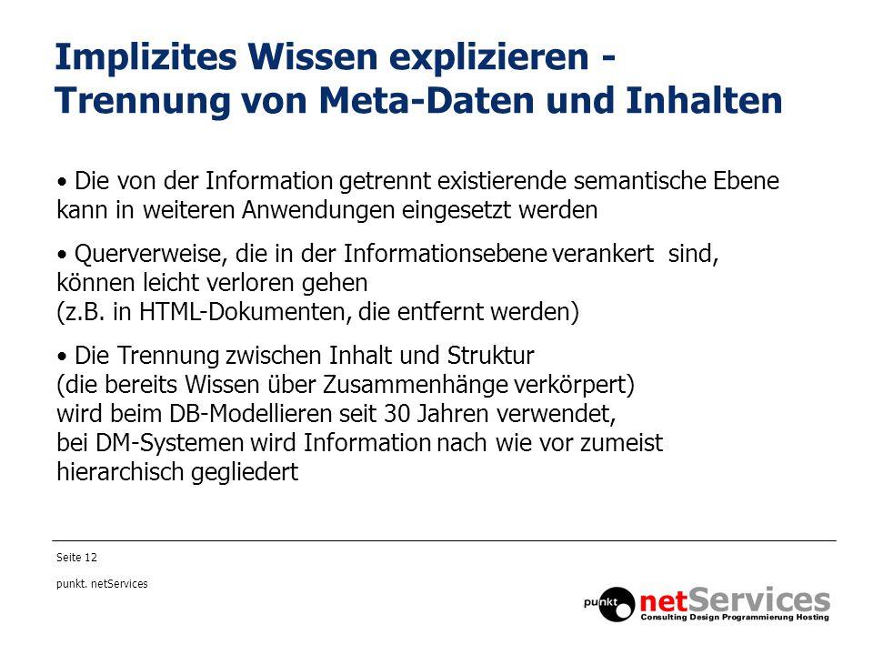 Implizites Wissen explizieren - Trennung von Meta-Daten und Inhalten