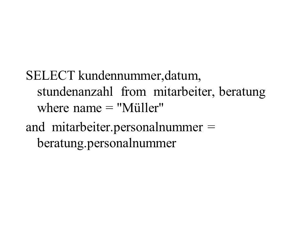 SELECT kundennummer,datum, stundenanzahl from mitarbeiter, beratung where name = Müller