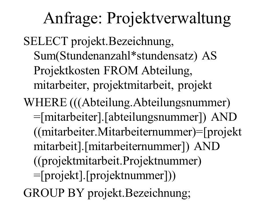 Anfrage: Projektverwaltung