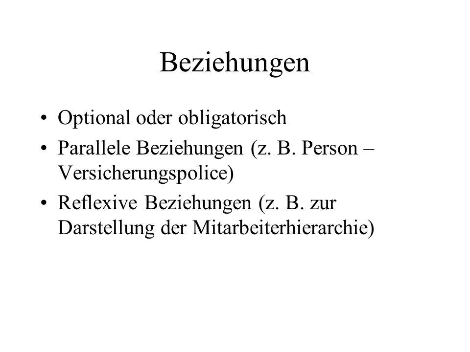 Beziehungen Optional oder obligatorisch