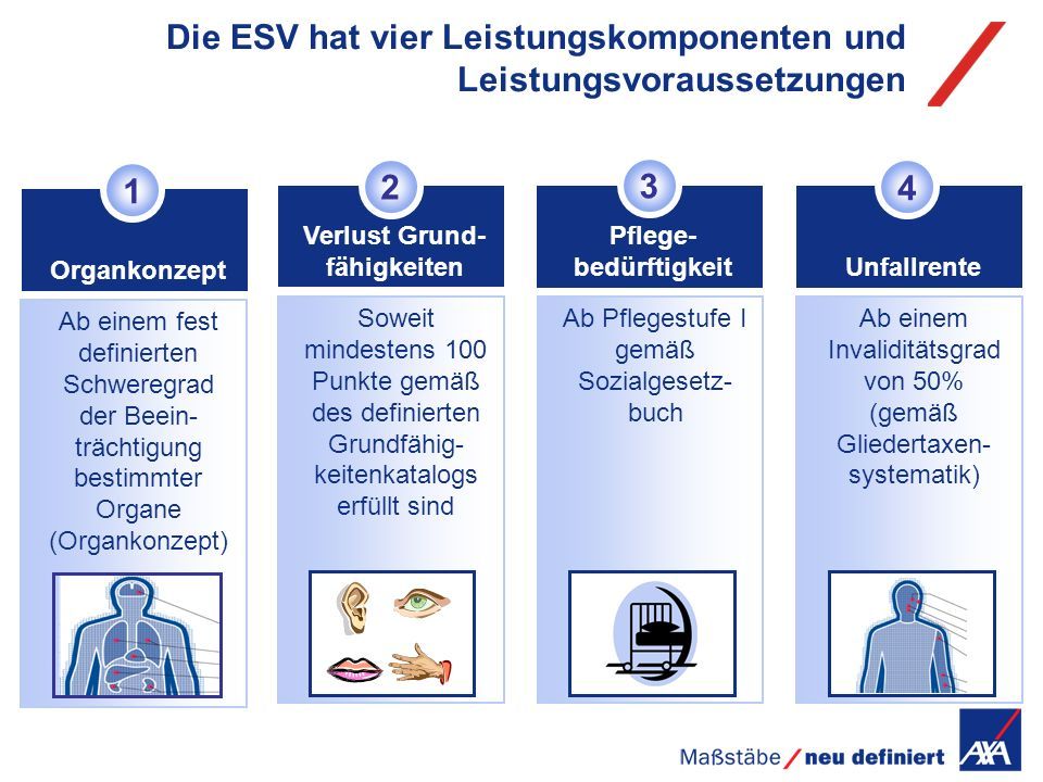 Die ESV hat vier Leistungskomponenten und Leistungsvoraussetzungen