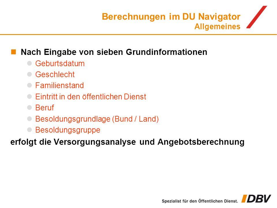 Berechnungen im DU Navigator Allgemeines