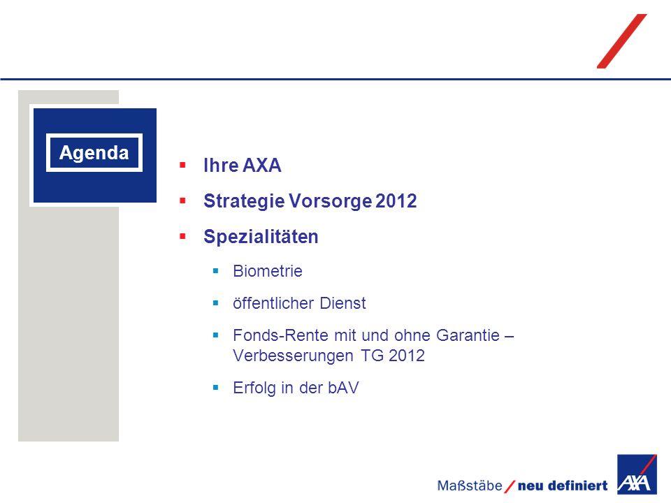 Ihre AXA Agenda Strategie Vorsorge 2012 Spezialitäten Biometrie
