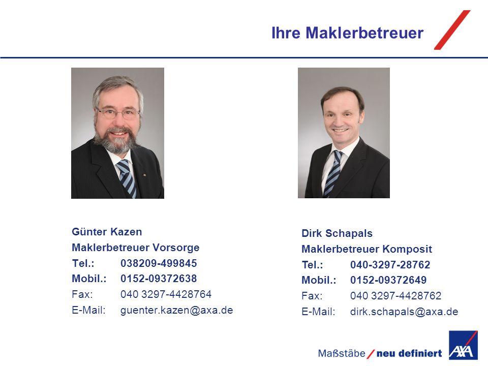 Ihre Maklerbetreuer Maklerbetreuer Vorsorge Maklerbetreuer Komposit