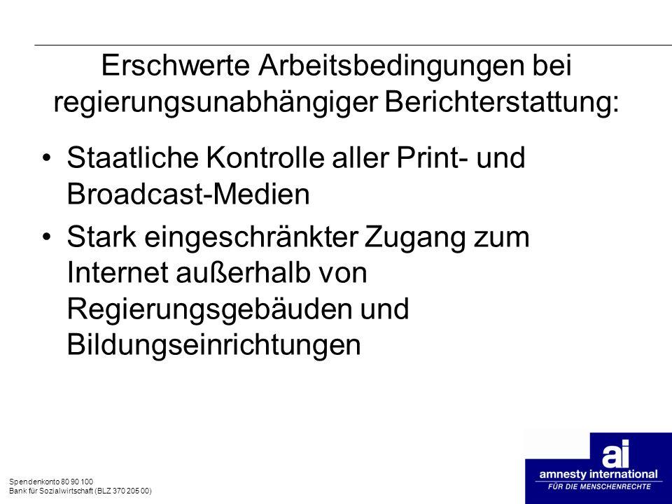Staatliche Kontrolle aller Print- und Broadcast-Medien