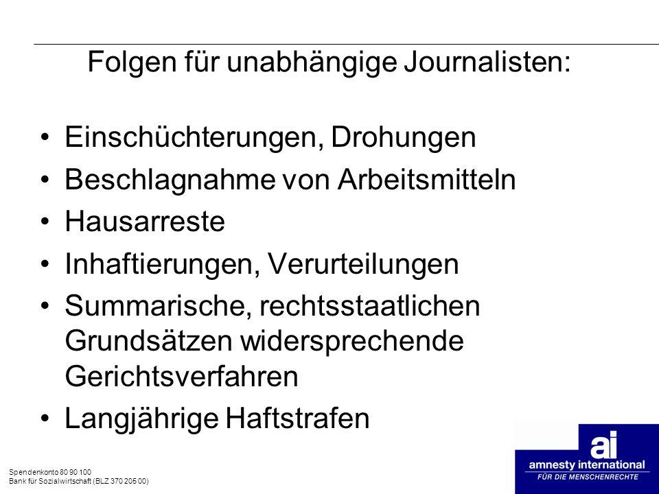 Folgen für unabhängige Journalisten:
