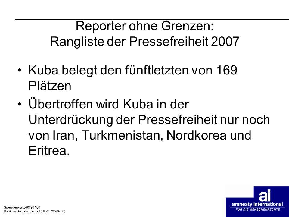 Reporter ohne Grenzen: Rangliste der Pressefreiheit 2007