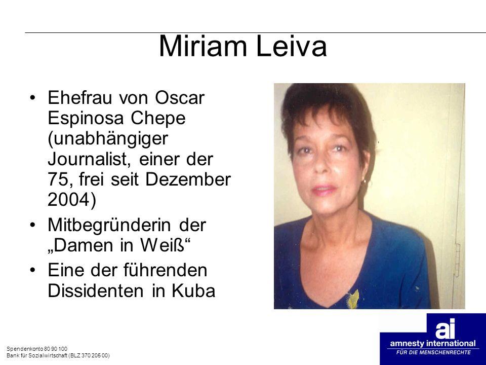 Miriam Leiva Ehefrau von Oscar Espinosa Chepe (unabhängiger Journalist, einer der 75, frei seit Dezember 2004)