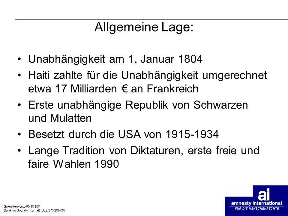 Allgemeine Lage: Unabhängigkeit am 1. Januar 1804