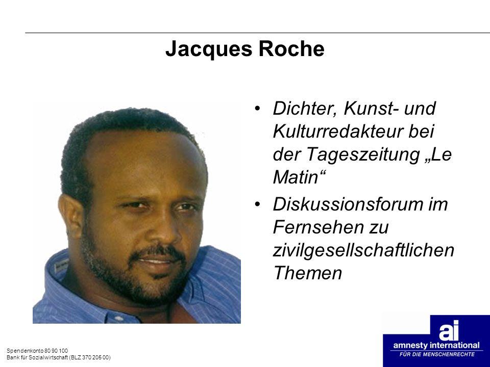 """Jacques Roche Dichter, Kunst- und Kulturredakteur bei der Tageszeitung """"Le Matin Diskussionsforum im Fernsehen zu zivilgesellschaftlichen Themen."""