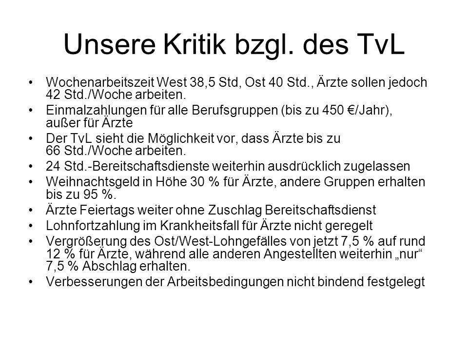 Unsere Kritik bzgl. des TvL