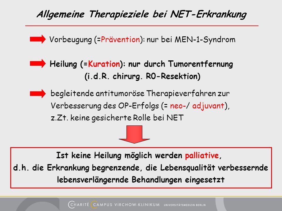 Allgemeine Therapieziele bei NET-Erkrankung