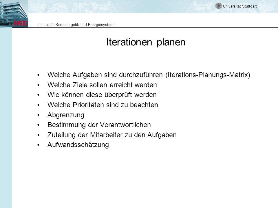 Iterationen planenWelche Aufgaben sind durchzuführen (Iterations-Planungs-Matrix) Welche Ziele sollen erreicht werden.