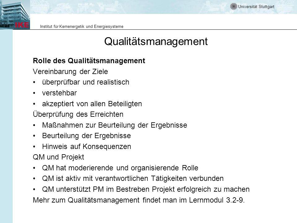 Qualitätsmanagement Rolle des Qualitätsmanagement