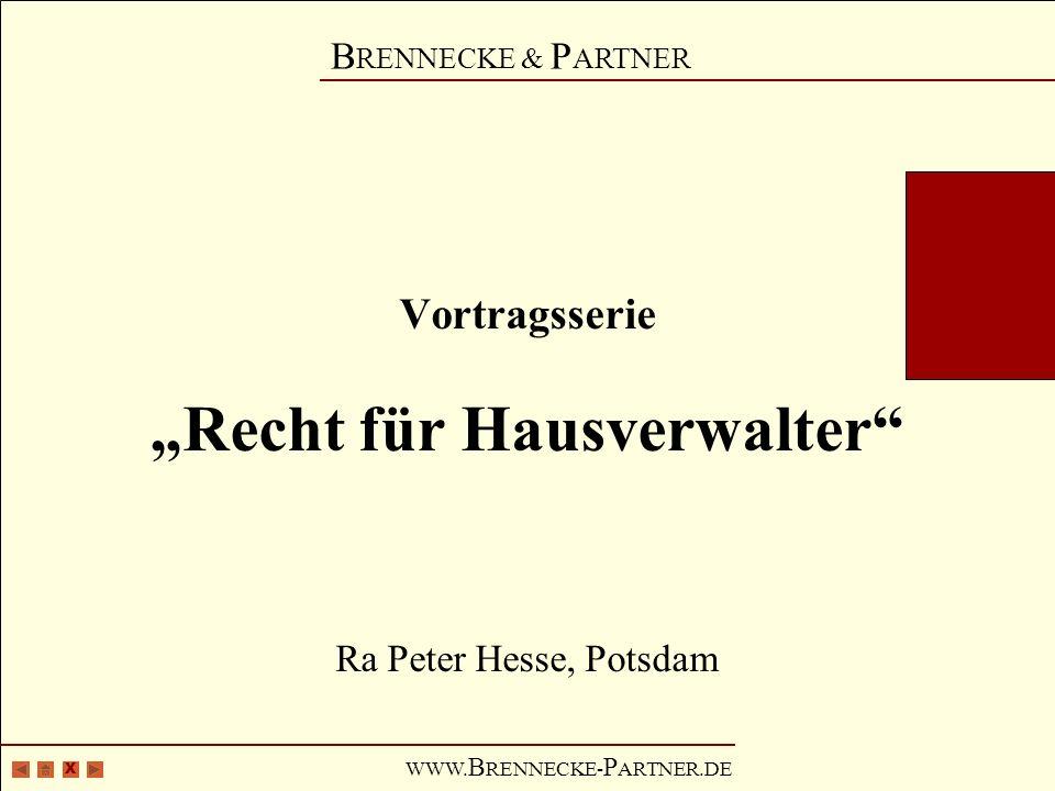 """Vortragsserie """"Recht für Hausverwalter Ra Peter Hesse, Potsdam"""