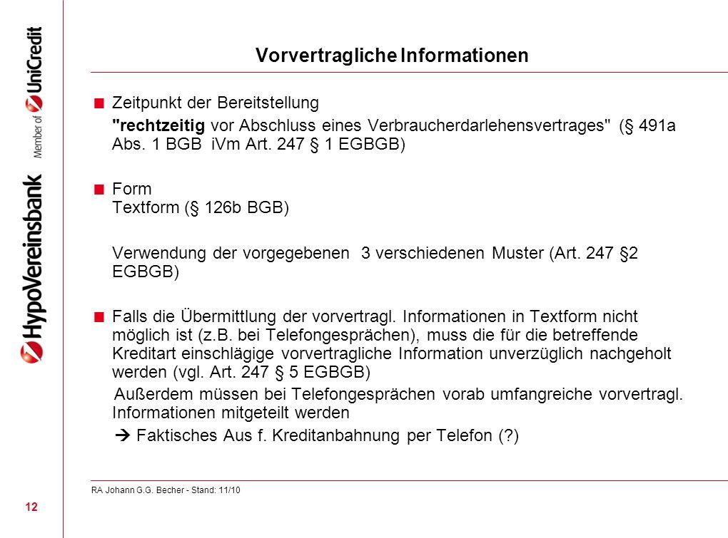 Vorvertragliche Informationen