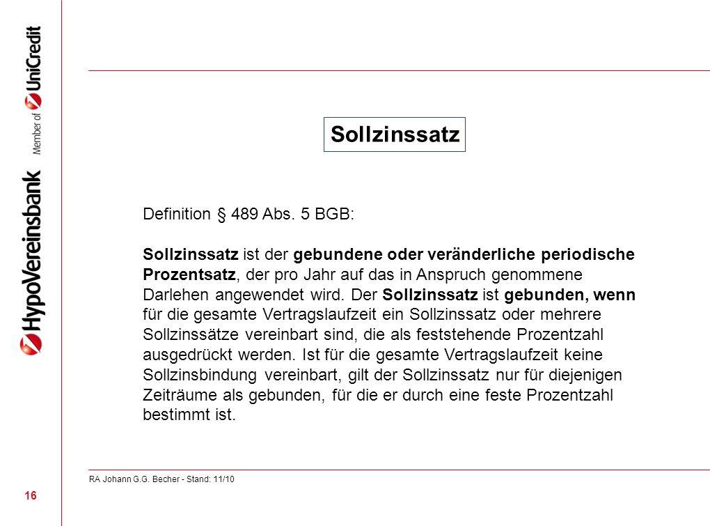 Sollzinssatz Definition § 489 Abs. 5 BGB: