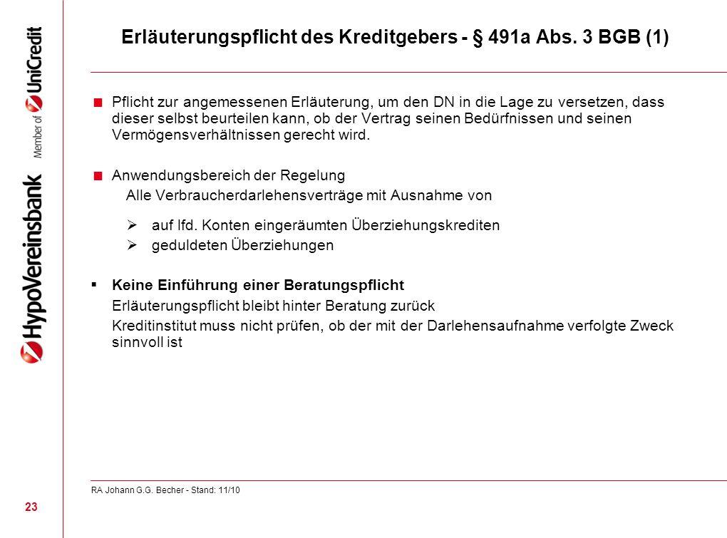 Erläuterungspflicht des Kreditgebers - § 491a Abs. 3 BGB (1)