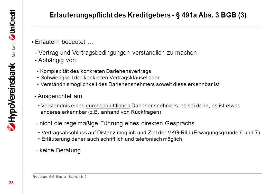 Erläuterungspflicht des Kreditgebers - § 491a Abs. 3 BGB (3)