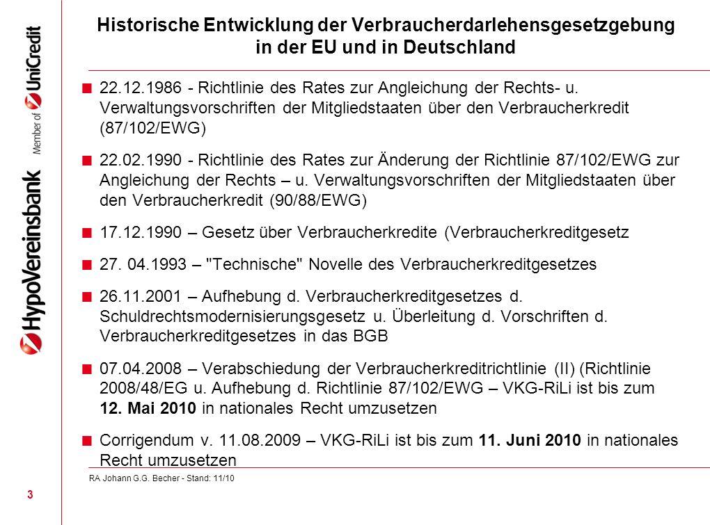 Historische Entwicklung der Verbraucherdarlehensgesetzgebung in der EU und in Deutschland