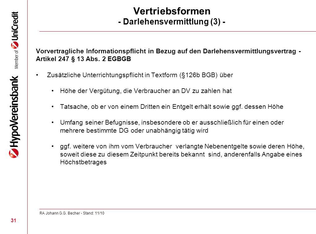 Vertriebsformen - Darlehensvermittlung (3) -